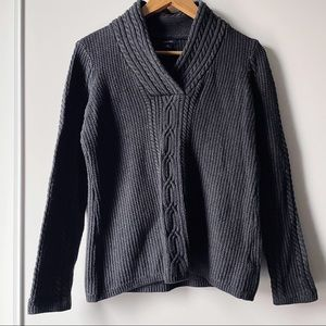 Nautica grey long sleeve cable knit sweater
